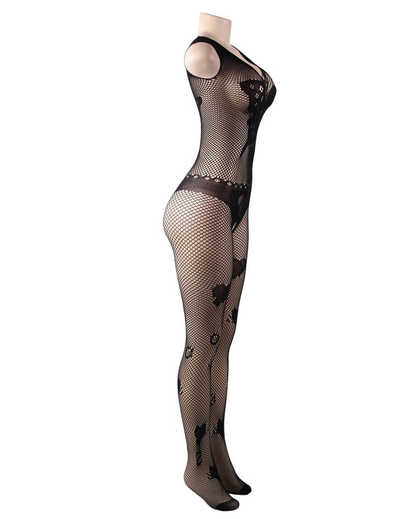 Classy Butterfly Pattern Black Fishnet Sexy Crothless Body Stocking