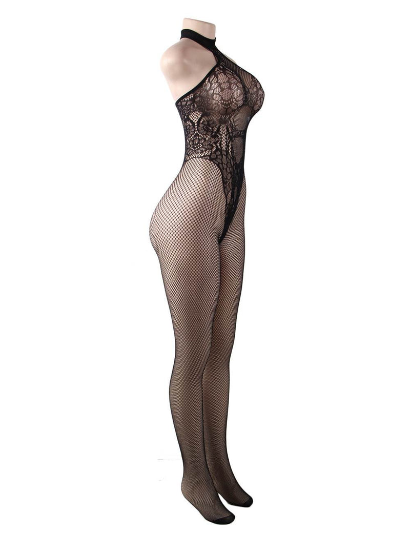 Extreme Alluring Plus Size Butterfly Pattern Halter Sexy Bodystocking