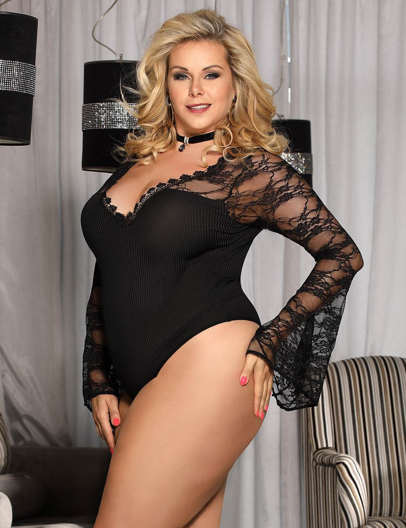 Free Shipping Plus Size Black Lace Long Sleeves V Neckline Teddy