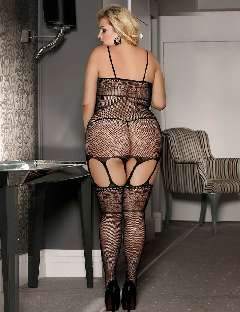 Plus Size Black Fishnet Front Fasten Crotchless Sexy Bodystocking