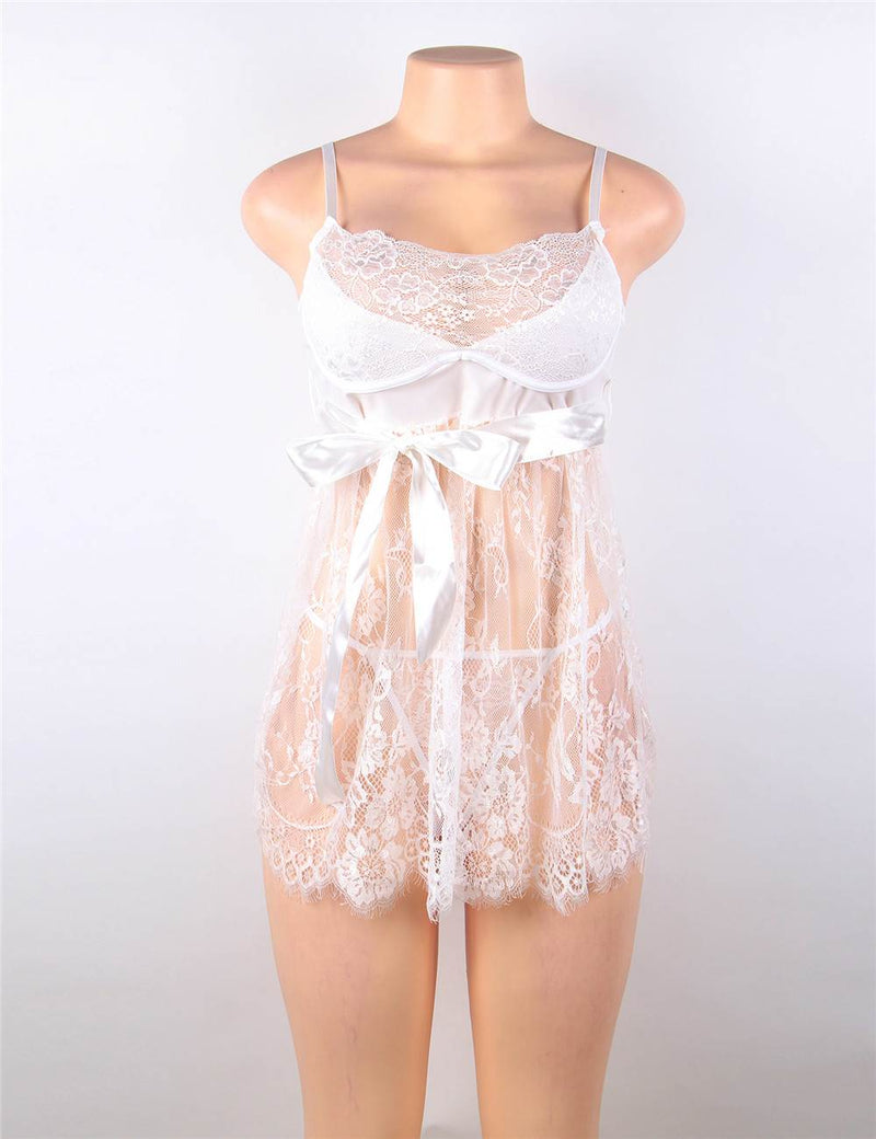 Exquisite Super Comfy White Soft Lace Underwired Babydoll Dress