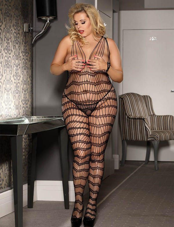 Plus Size Superb Hollow Strappy Crotchless Black Body Stockings