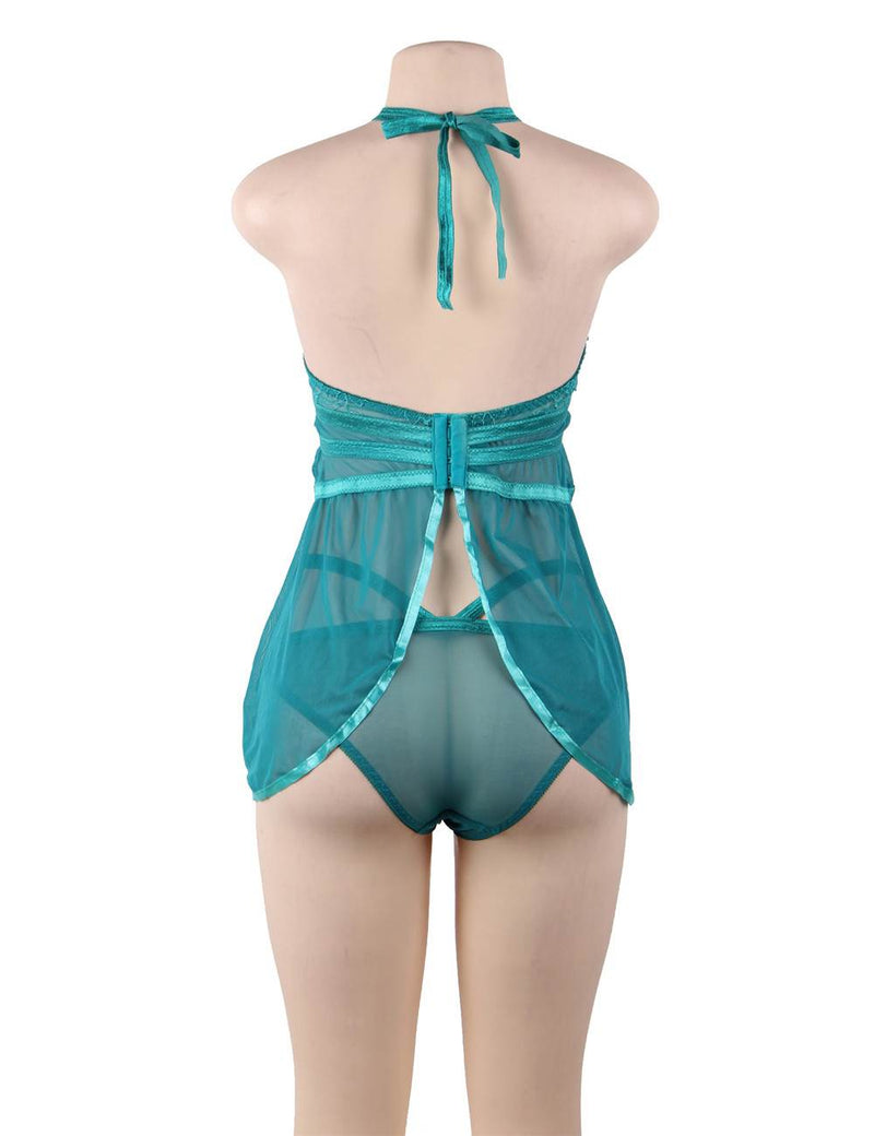 Gorgeous Green Sheer Mesh Lace Cup Halter Sexy Babydoll Set