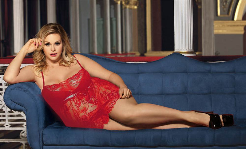 Superb Red Lace Underwire Cup Plus Size Sexy Babydoll Lingerie Set
