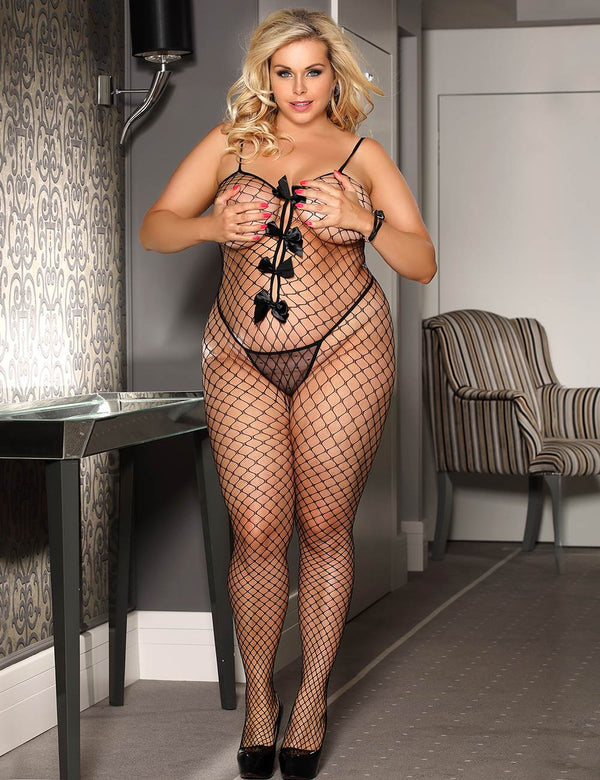 Plus Size Black Fishnet Crotchless Bowknot Bodystocking