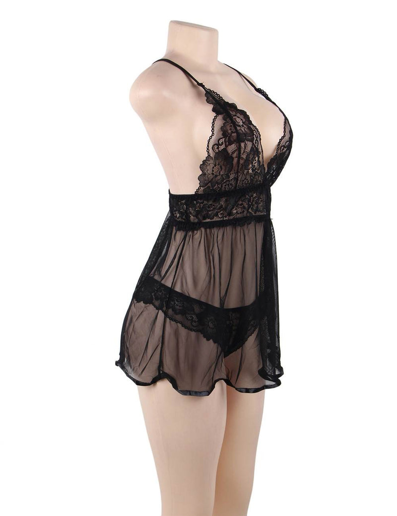Black Sheer Mesh Lace Stitching Plus Size Women Babydoll Dress