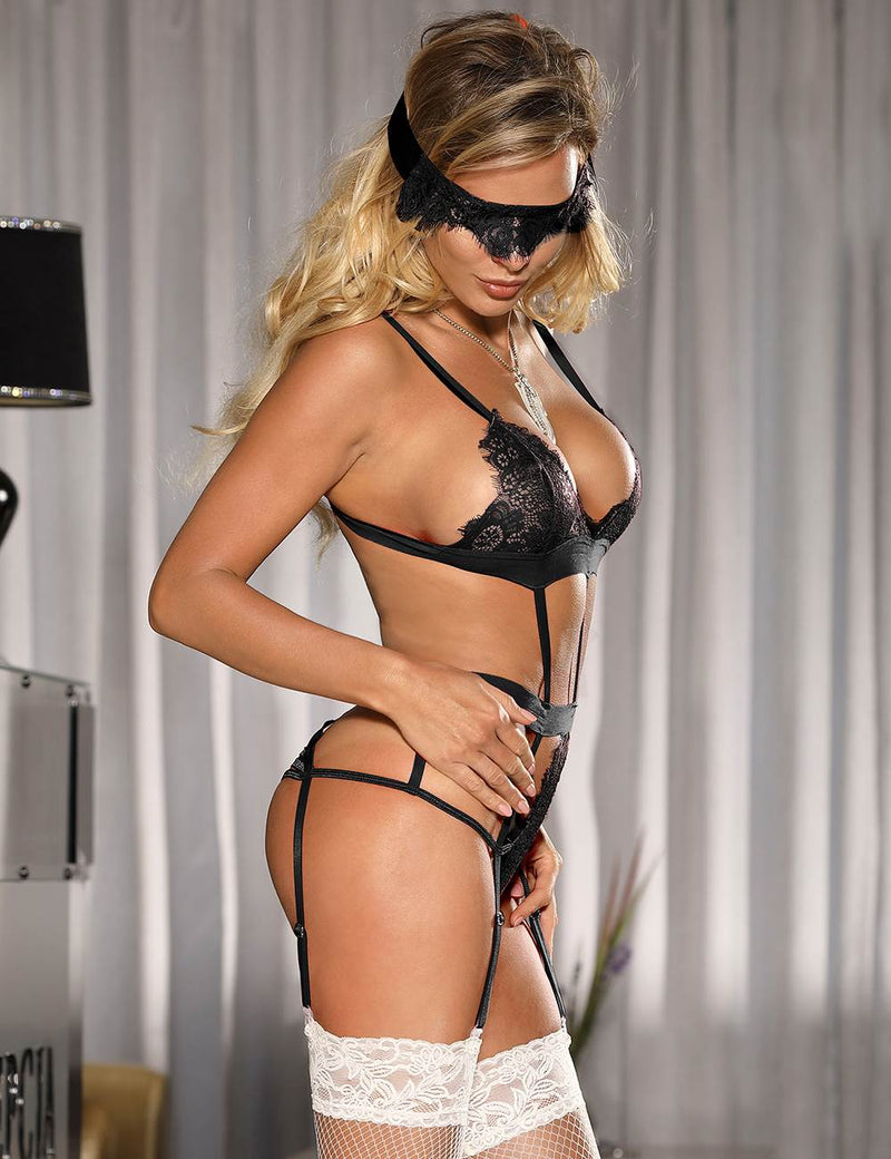 Delicate Black Lace Sheer Fabric Women Bra Set Sexy Underwear