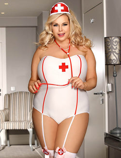 Free Shipping Plus Size Stylish Nurse Costume Cosplay Teddy Lingerie