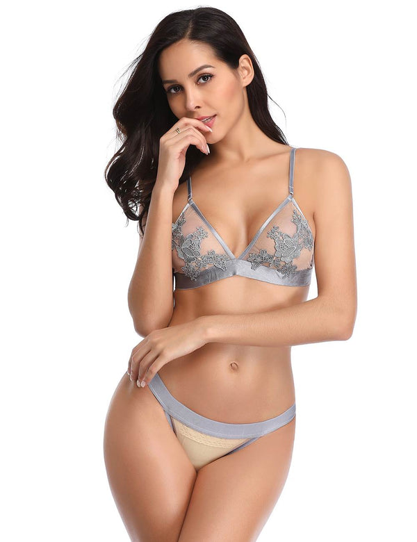 Elegant Grey Sheer Mesh Floral Embroidered Sexy Bra Panty Set