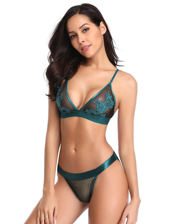 Tempting Green Sheer Mesh Floral Embroidery Women Fashion Bra Set
