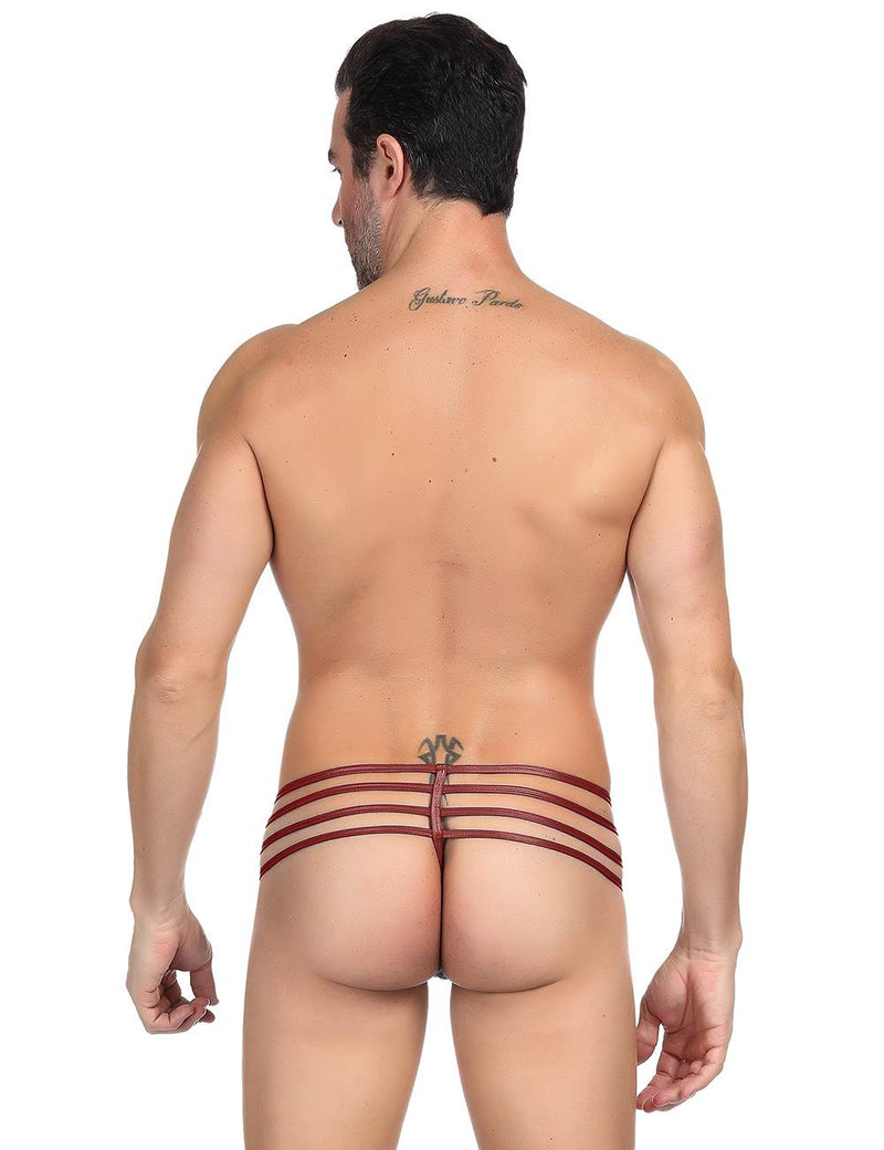Mens Sissy Underwear Wine Red Faux Leather Men Panties