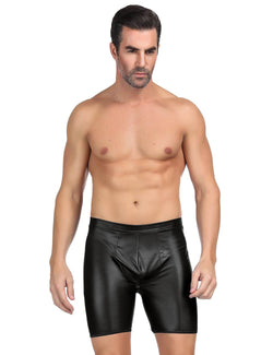 Black Faux Leather Backless Underpants Men's Sissy Underwear