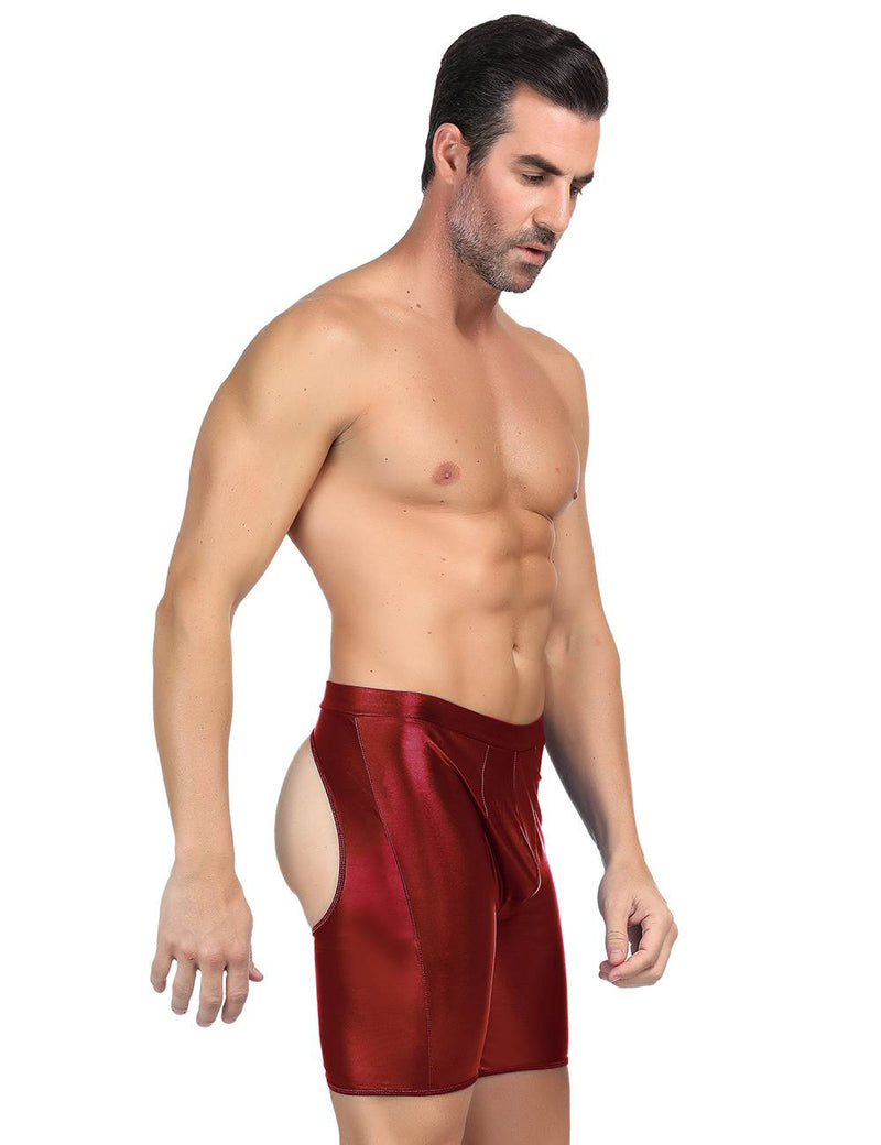 Soft and Comfy Red Faux Leather Open Hip Men Sissy Underwear