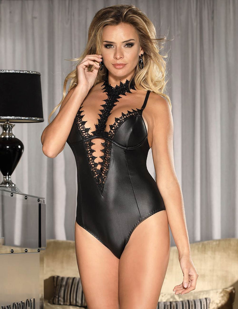 Stylish Sexy Black Leather Teddy Lingerie With Lace Choker