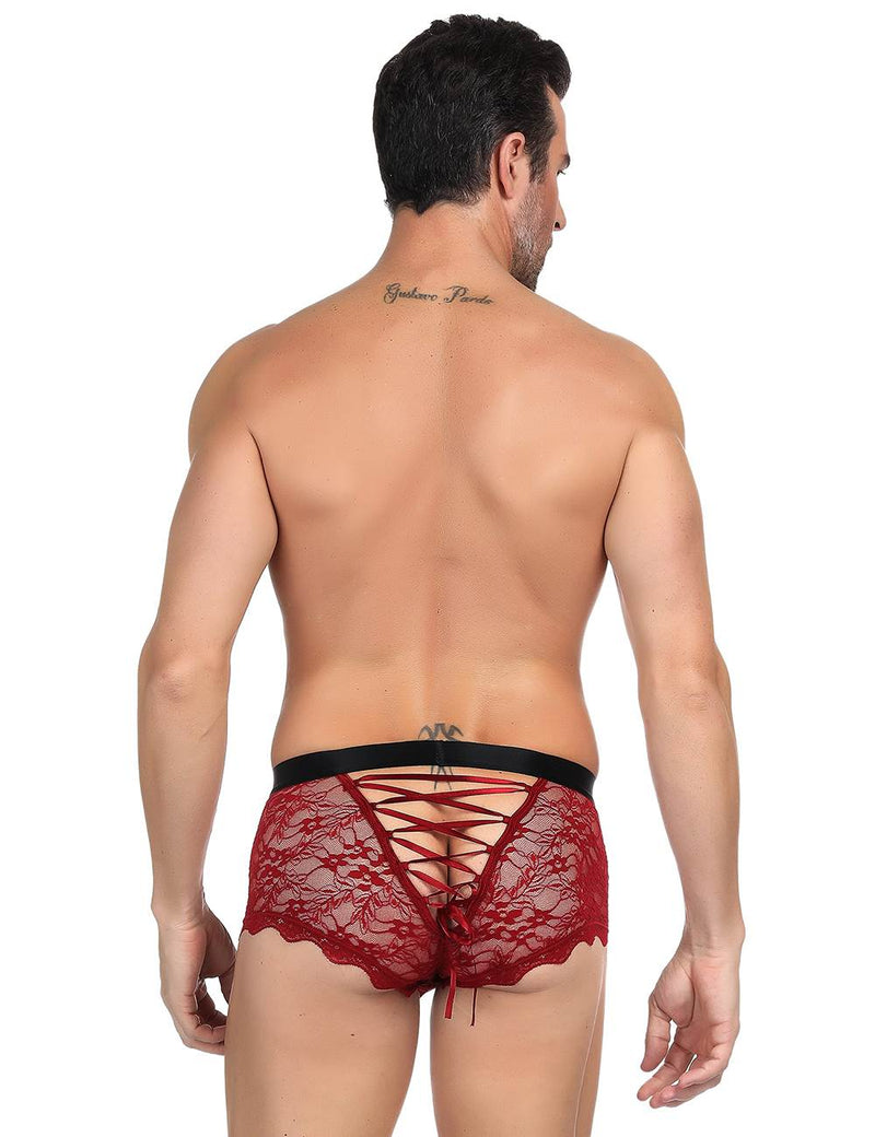High Quality Red Lace Back Fasten Sexy Sissy Panties For Men
