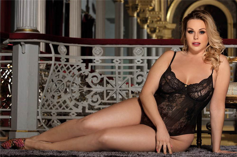 Glamorous Plus Size Underwired Black Sheer Lace Teddy Lingerie