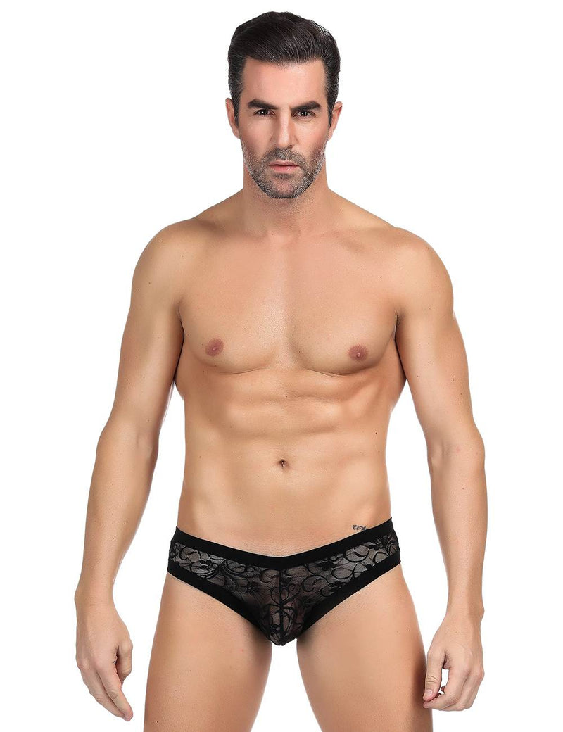 Stylish Male Undergarments Sexy Black Lace Panty For Men