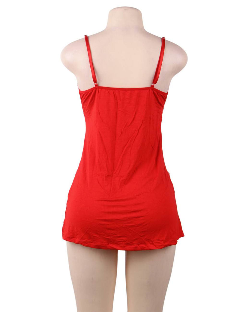 Free Shipping Plus Size Sleepwear Red Cotton Embroidery Lingerie