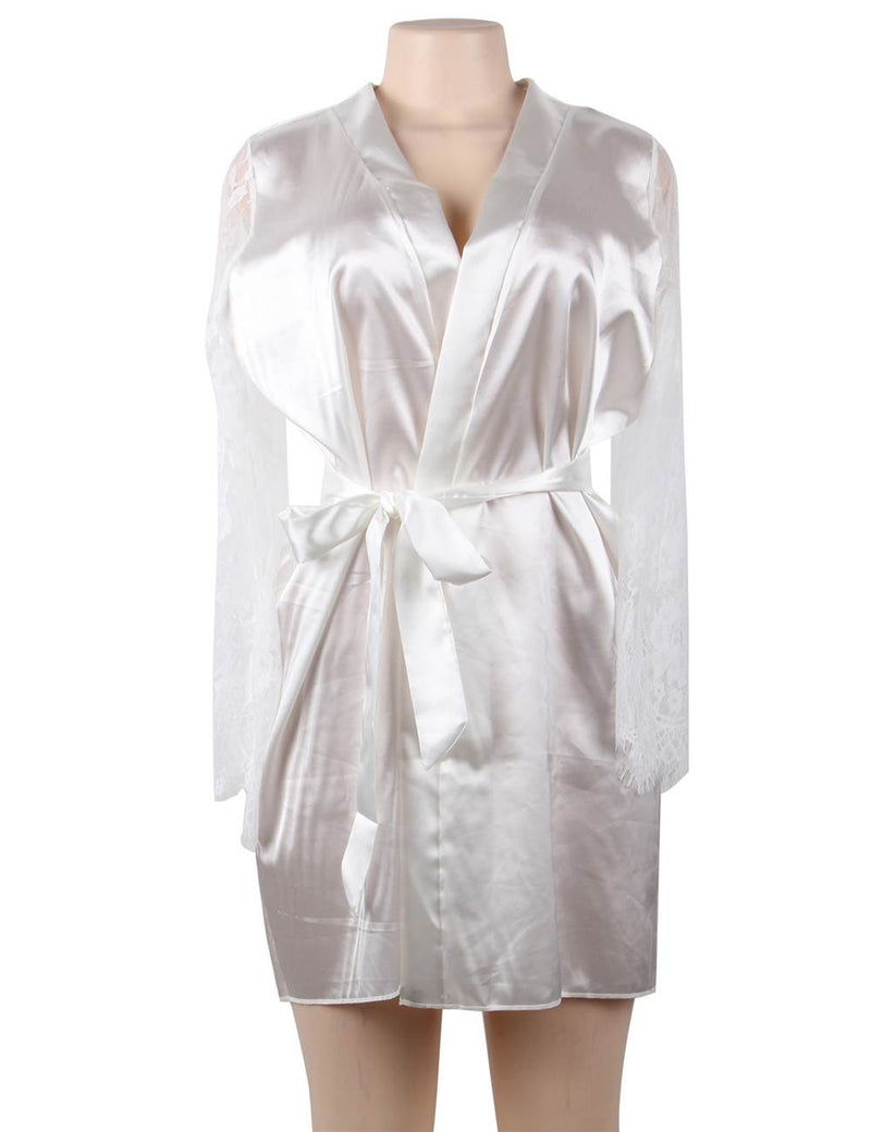 Free Shipping Queen Size Pure White Silky Robe Lace Sleeves Pajama