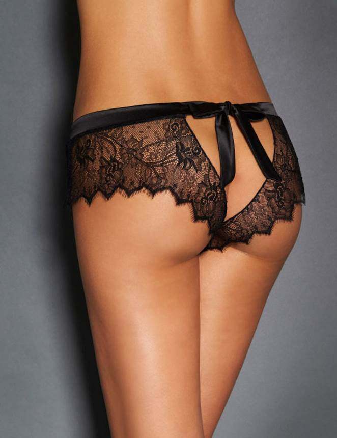 Super Delicate Sexy Black Lace Silky Waist Women Sexy Backless Panty
