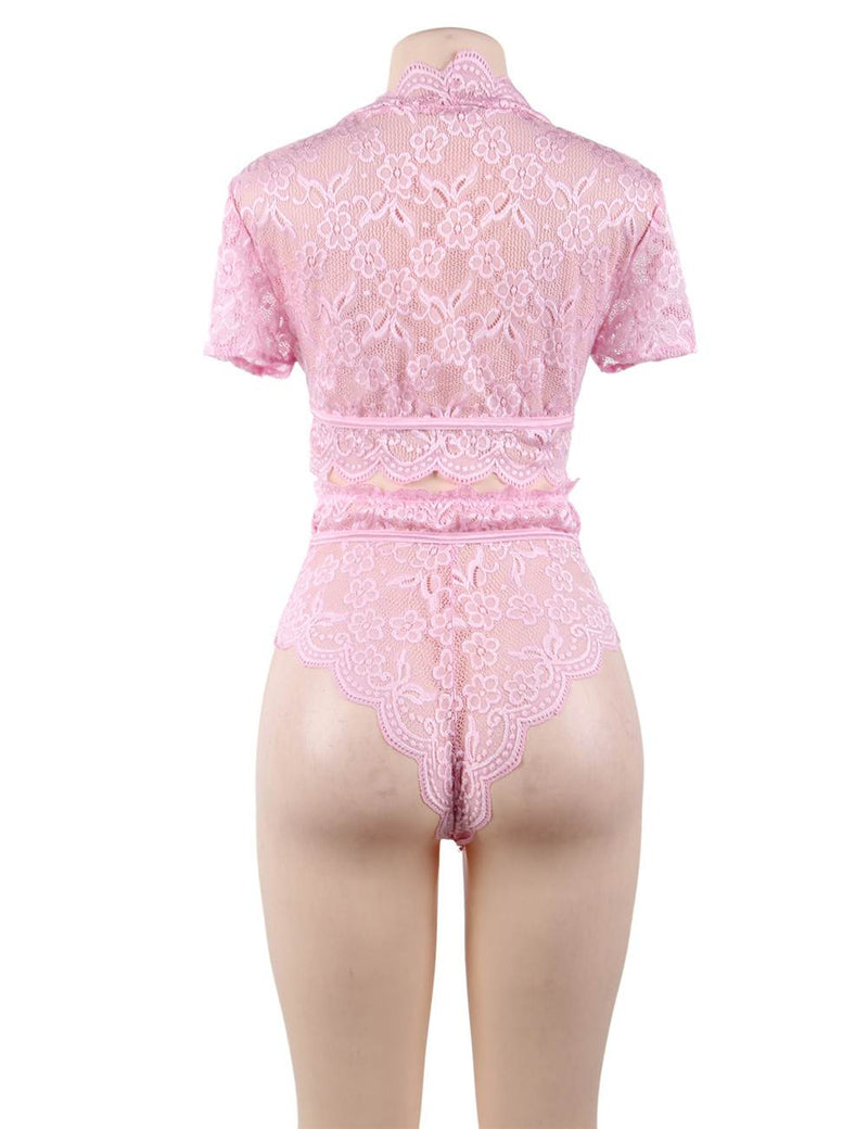 Lovely Pink Lace Full Cup High Waist Women Sexy Bra Set Underwear