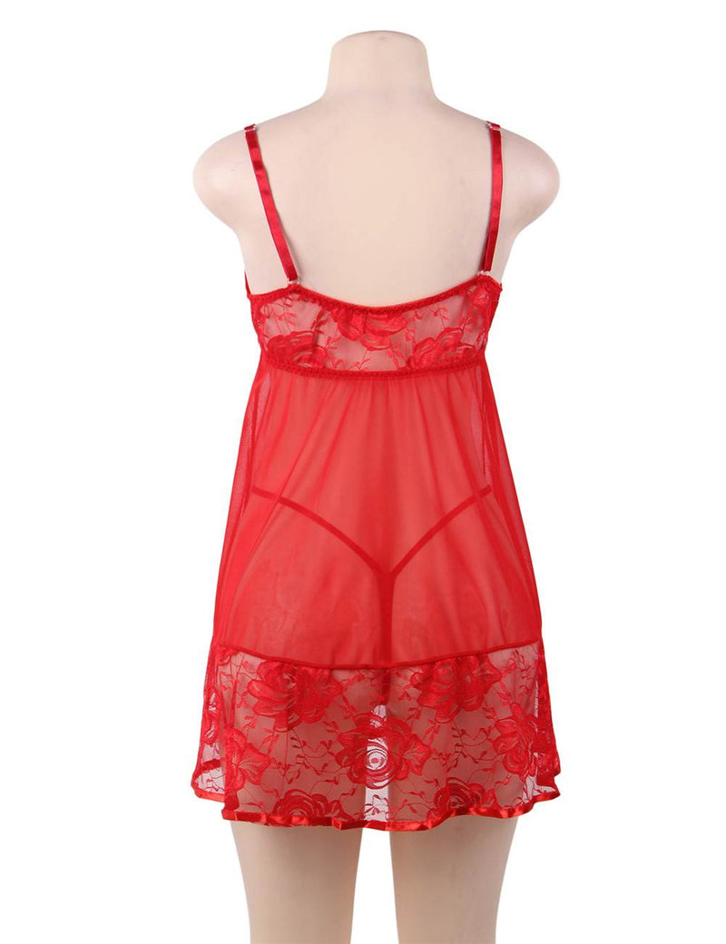 Bright Red Sheer Mesh Lace Cup Soft Embroidery Babydoll Dress