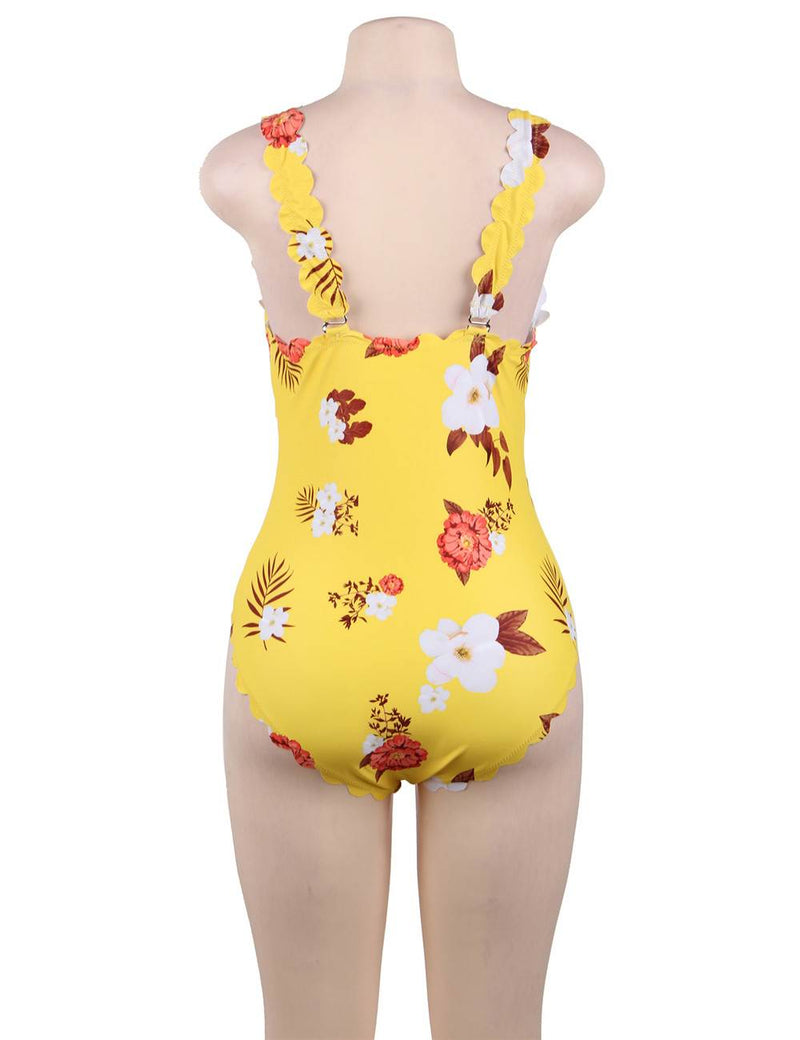 Big Size Floral Printed Delicate Women Yellow One Piece Swimsuit