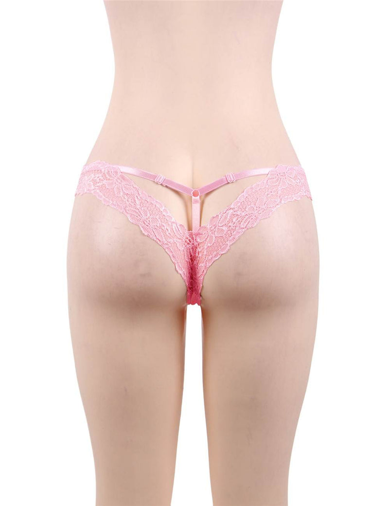 Super Delicate Plus Size Lovely Pink Lace Sexy Panty