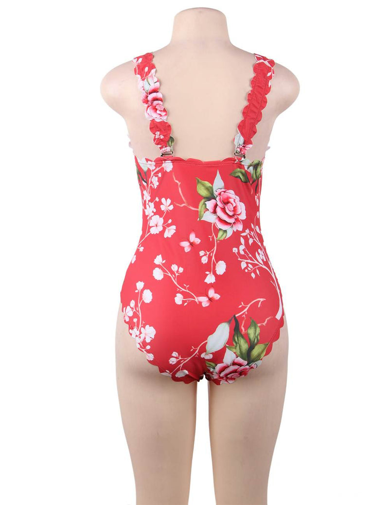 Plus Size Flower Printed Delicate Women One Piece Swimsuit