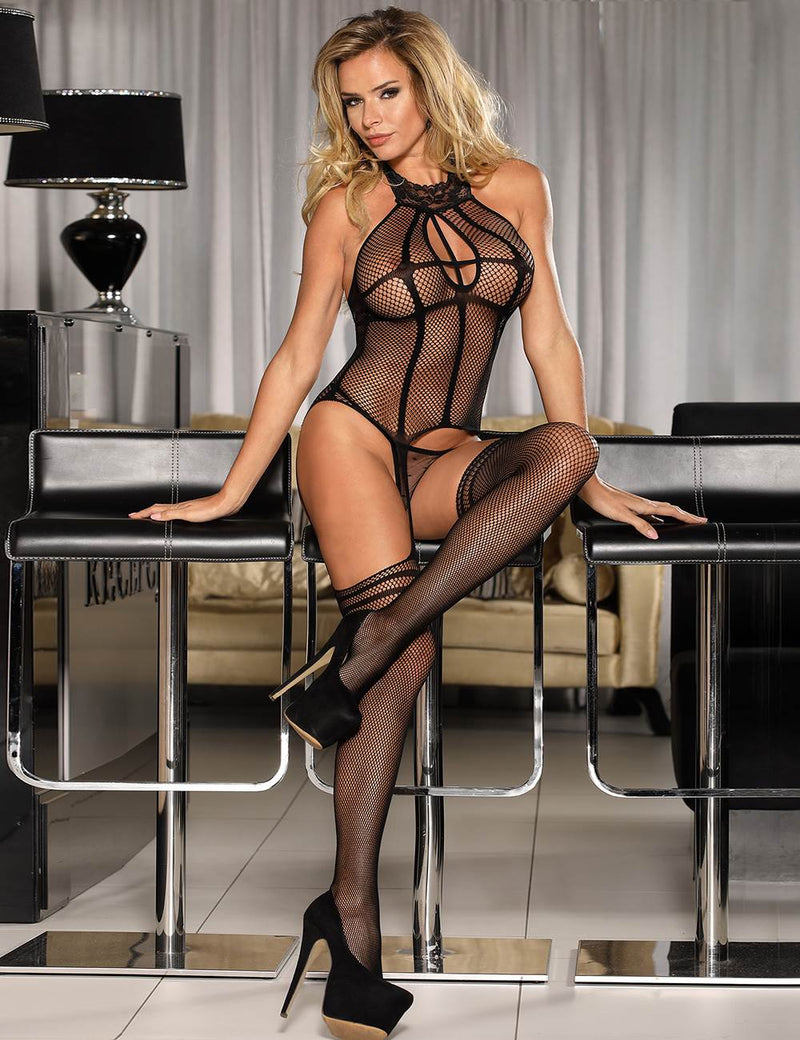 Erotic Black Fishnet Sexy Crotchless Body Stocking With Lace Neckline