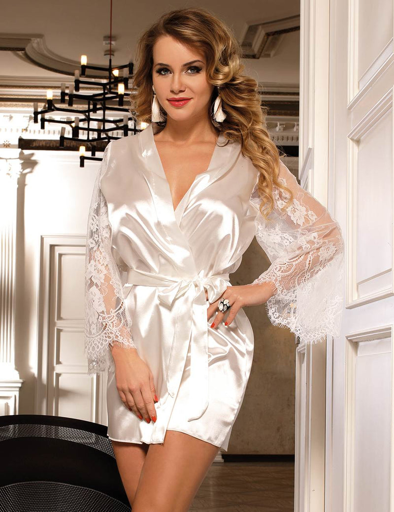 Elegant Black Silky Sexy Robe Lace Long Sleeves Pajama Set