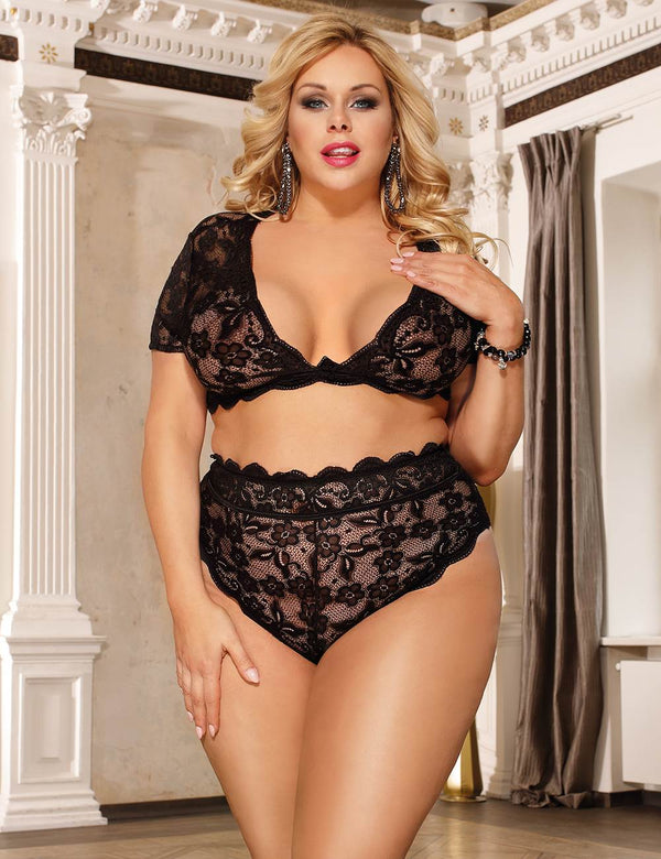 Delicate Queen Size Black Fine Lace Full Cup High Waist Sexy Bra Set
