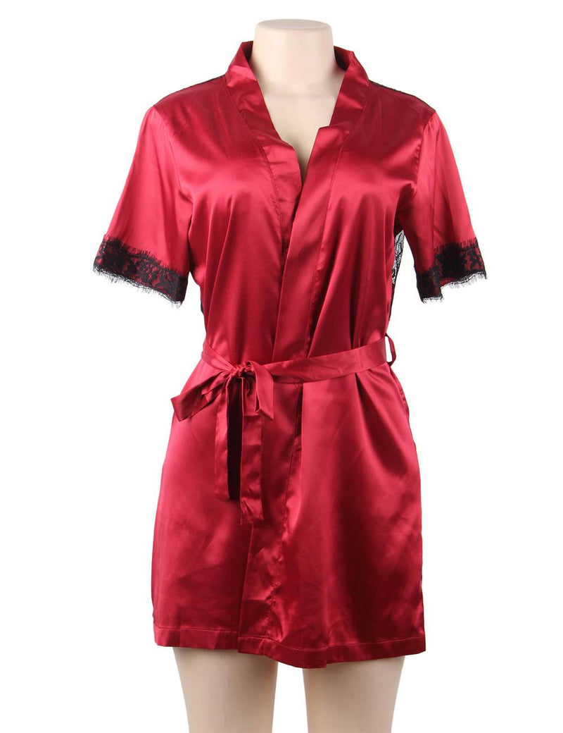 Plus Size Wine Red Satin Black Lace Stitched Sexy Robe Pajamas