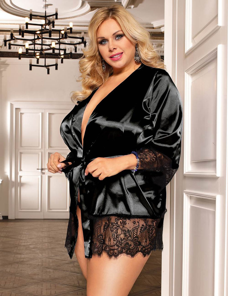 Plus Size Pajamas Blue Satin Lace Cuff Kimono Style Sleepwear