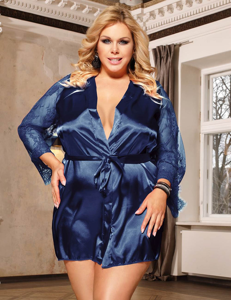 Free Shipping Plus Size Blue Silky Satin Robe Lace Sleeves Pajama