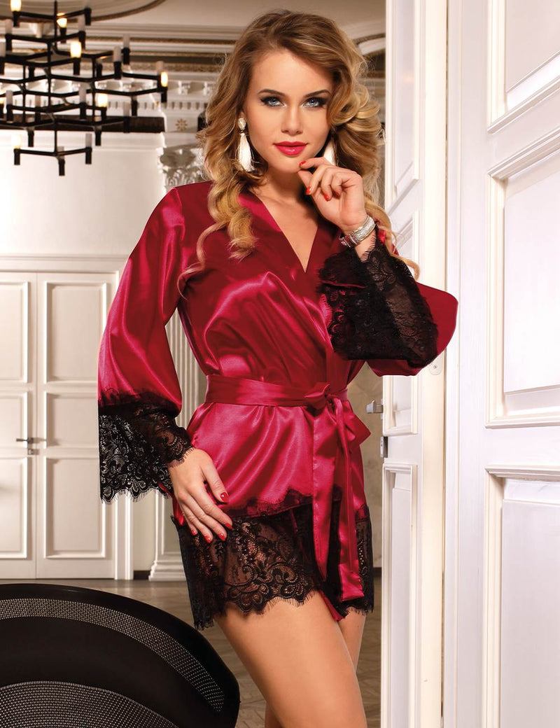 Elegant Plus Size Robe Black Satin Pajama Kimono Style Nightwear