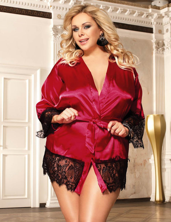 Super Delicate Plus Size Pajamas Red Satin Kimono Style Nightwear