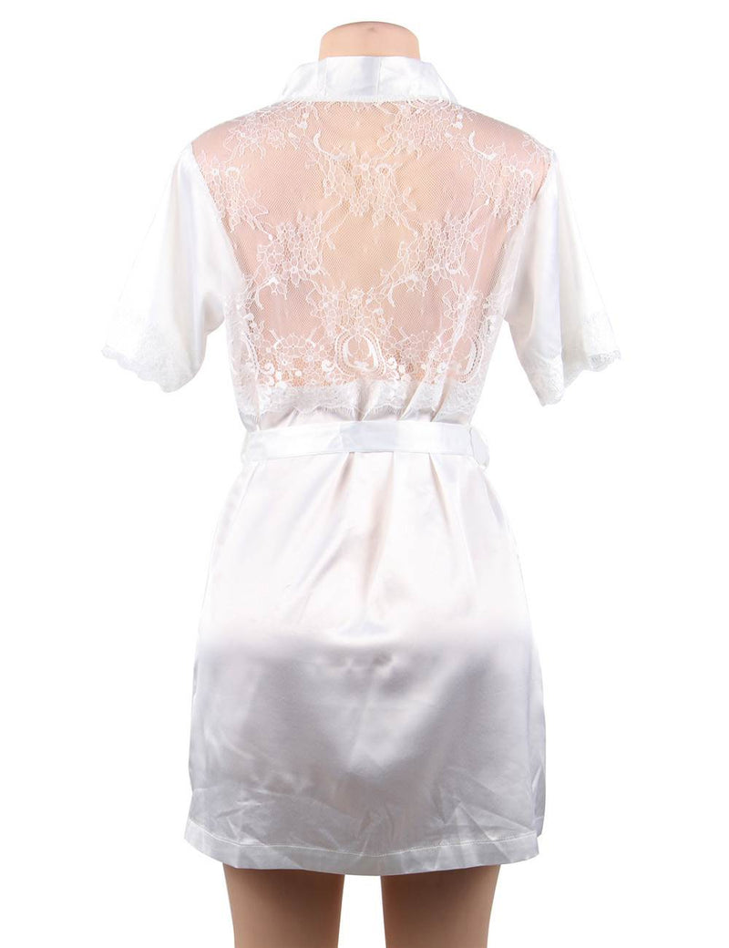 Queen Size Pure White Satin Silky Robe Lace Stitched Pajamas