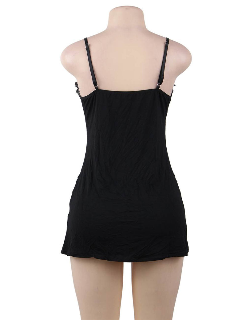 Free Shipping Delicate Plus Size Nightwear Black Cotton Lingerie
