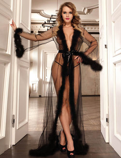 Plus Size Sexy Black Mesh Sheer See Through Sleepgown With Fur