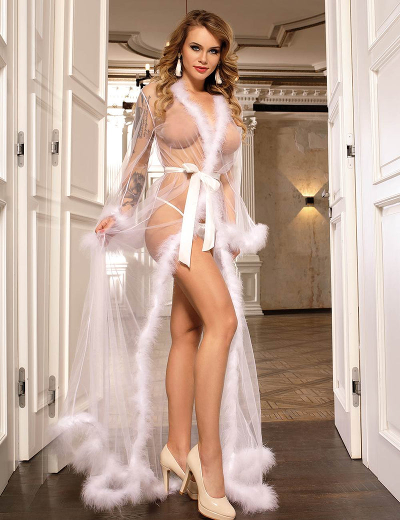 Classy Pink Sheer Mesh See Through Plus Size Fur Robe Sexy Long Nightgown