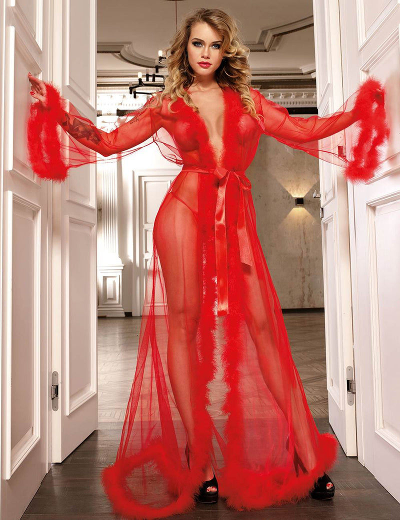 Extreme Alluring Plus Size Red Robe See Through Nightgown Fur Lingerie
