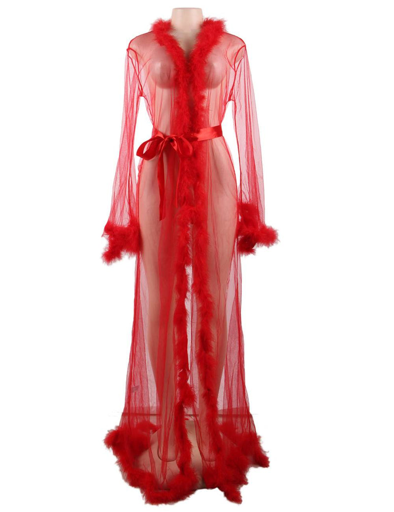 Alluring Plus Size Red Robe See Through Long Nightgown Fur Lingerie