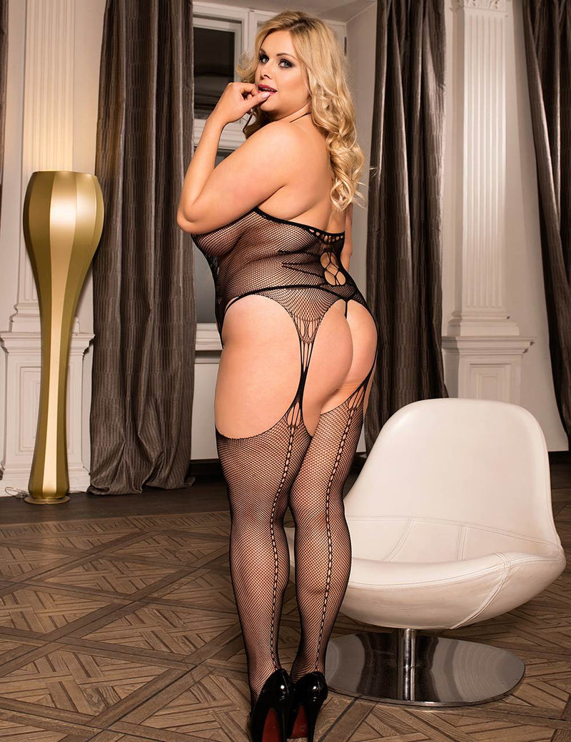Plus Size Hollow Out Open Crotch Halter Black Body Stockings