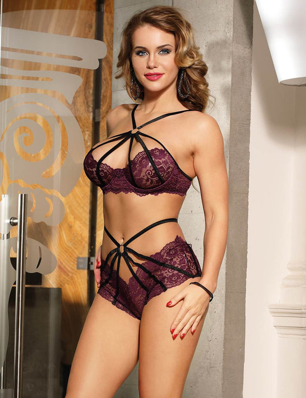 Stylish Purple Lace Underwired Cross Straps Fashion Bra Set