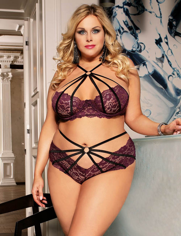 Plus Size Super Stylish Purple Lace Underwired Cross Straps Bra Set