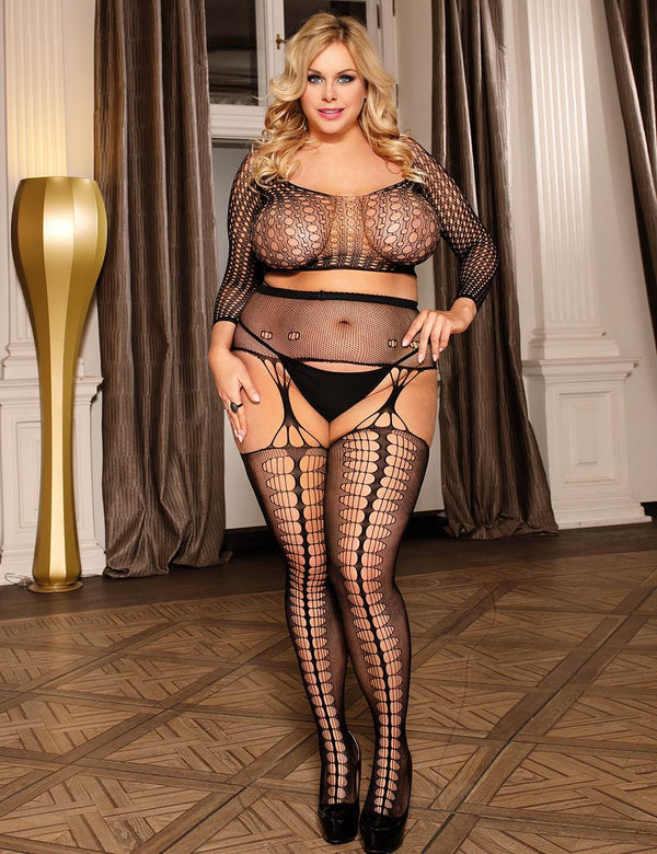 Delicate Plus Size Long Sleeves Stretchy Crotchless Sexy Bodystocking