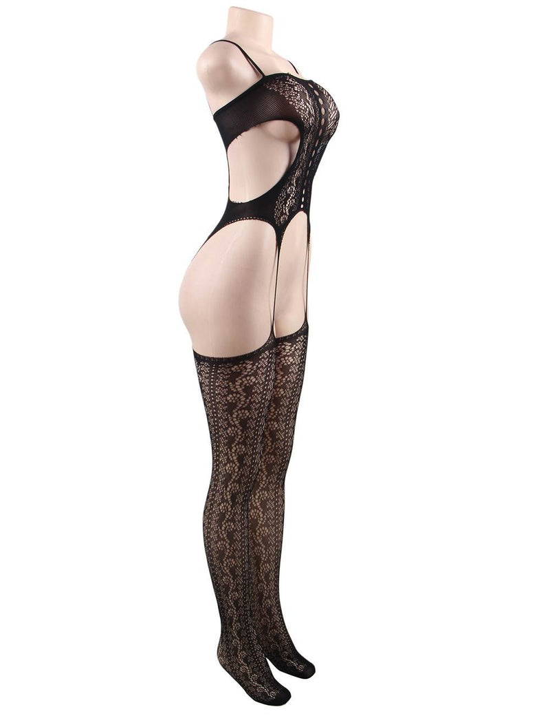 Plus Size Stretchy Open Crotch Super Sexy Black Bodystocking