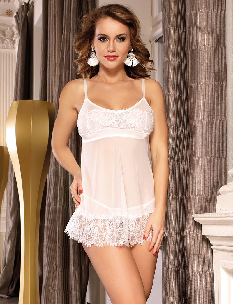 Vintage Pure White Sheer Mesh Babydoll Dress With Lace Edge