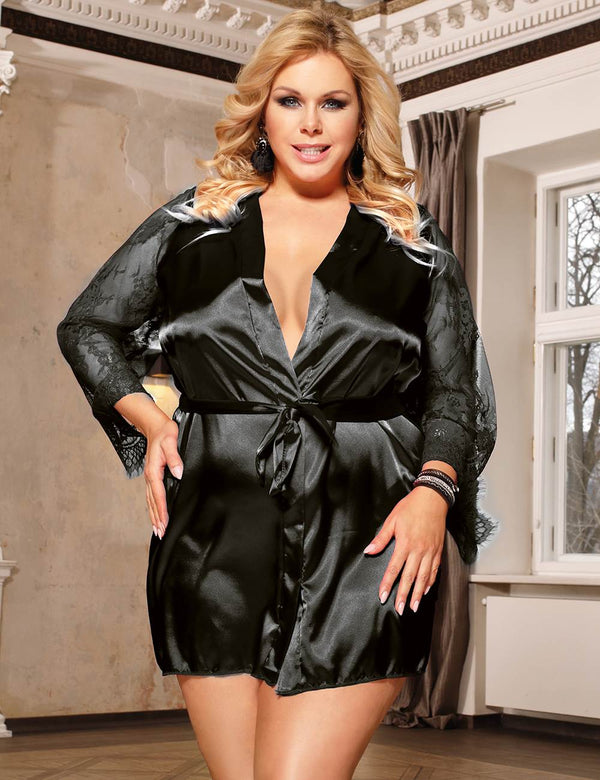 Free Shipping Classy Black Satin Robe Lace Sleeves Plus Size Pajama
